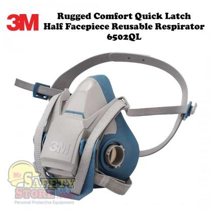 3M Rugged Comfort Quick Latch Half Facepiece Reusable Respirator 6502QL Medium