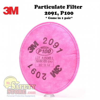 3M Particulate Filter 2091, P100 (1 Pair)