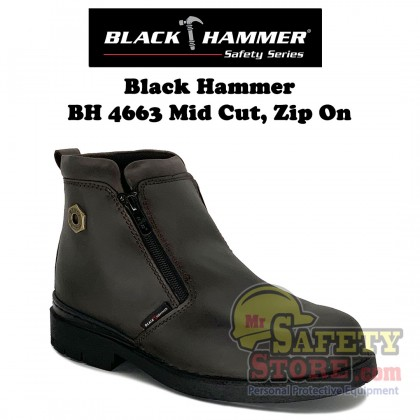 Balck Hammer 4000 Series Mid Cut Zip On Safety Shoes BH4663