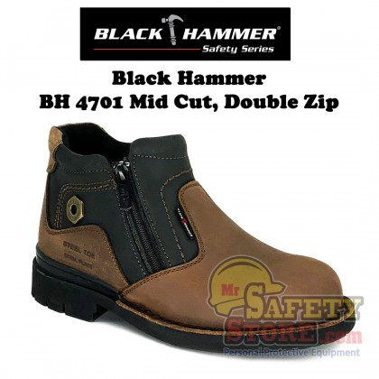 Black Hammer 4000 Series Mid Cut with Double Zip Safety Shoe BH4701 (BROWN)