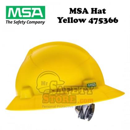 MSA V-Gard Full Brim Hard Hats- Yellow 475366