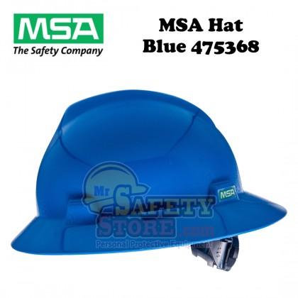MSA V-Gard Full Brim Hard Hats- Blue 475368